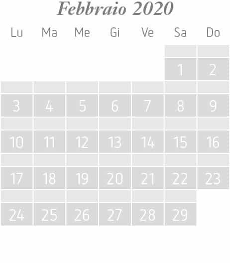 Settimane a tema di febbraio 2020